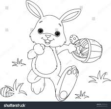 coloring page easter bunny hiding eggs stock vector 47101012