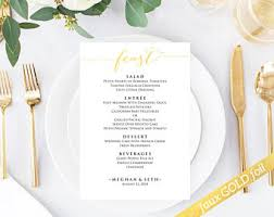 bon appetit wedding menu templates editable wedding menu