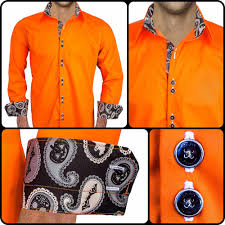 orange and black dress shirts