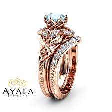 rings art images Aquamarine engagement matching rings art deco rose gold ring set jpg