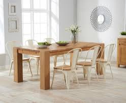 Tolix Dining Table 200cm Solid Oak Dining Table With Tolix Industrial Style Dining Chairs
