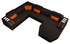 divani casa modern sectional sofa black and orange bonded