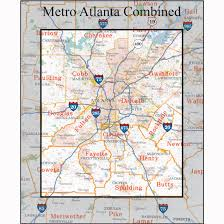 Dallas Area Code Map by Atlanta Georgia Wall Maps U0026 Zip Code Maps Aero Surveys Of Georgia