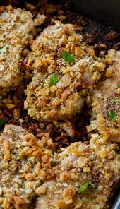 Southern Stuffing Recipes For Thanksgiving Stuffing Coated Pork Chops Spicy Southern Kitchen