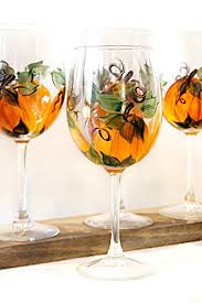 painted pumpkin fall thanksgiving wine glass set of 4