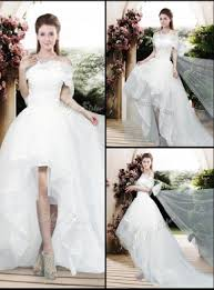 high low wedding dress with sleeves appliques and bowknot high low wedding dresses with cap sleeves