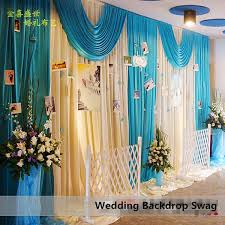 Blue Swag Curtains Wedding Backdrop Decor 3x6m Silk White Wedding Backdrop