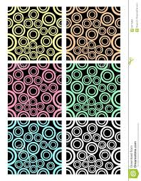 set of classic rounded patterns on black background different