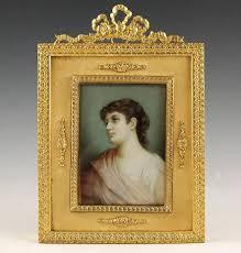 Gilt Bonze Enameled Portrait Collectible Antique Miniature Portraits Antique Austrian Miniature