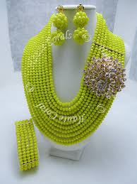crystal bead necklace images Ulochi yellow crystal beads statement necklace hautecorals jpg