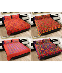 Throw Pillow Covers Online India Grj India Pure Cotton Rajasthani Print 4 Double Bed Sheet With 8