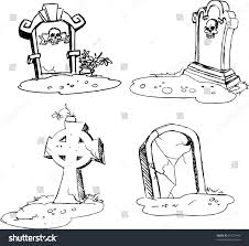 scary tombstones halloween night outlines stock vector 81737446