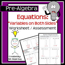 solving linear equations variables two sides pdf worksheet