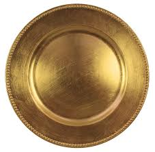 charge it by gold beaded charger plates