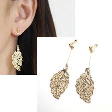gold clip on earrings leaf clip on earringsgold clip on earringsdangle clip
