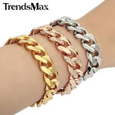 links bracelet rose gold images Trendsmax men bracelets stainless steel bracelet gold silver rose jpg