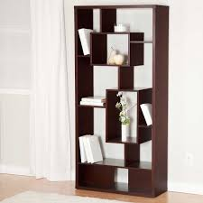 tall dark brown wood room divider shelves with some racks on the