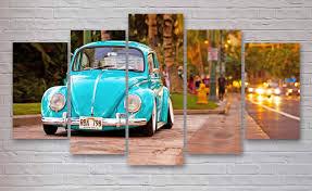 blue volkswagen beetle vintage volkswagen beetle bug classic car 5 piece panel canvas