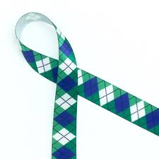 green satin ribbon argyle print in blue and green on 5 8 white satin ribbon
