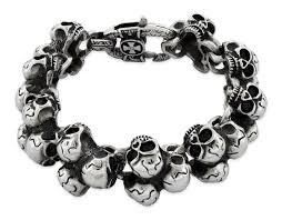 skull link bracelet images Stainless steel triple skull link bracelet badass jewelry jpg