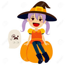 cute little wearing orange witch halloween costume and mascot