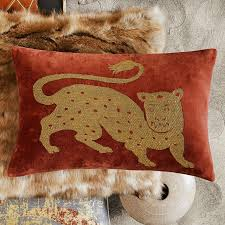 tibetan tiger velvet lumbar pillow cover rust gold williams sonoma