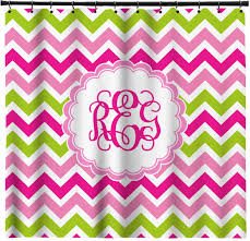 Pink Green Shower Curtain Pink Green Chevron Shower Curtain Personalized Youcustomizeit