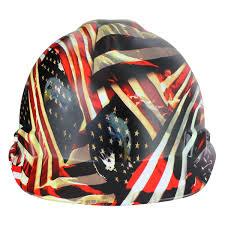 Usa Flag Hats Rugged Blue Custom Hydrographic American Flag Hard Hat