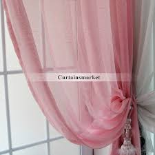 solid pink sheer curtains for girls bedrooms