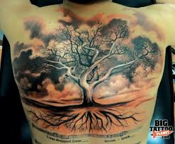 awesome grey ink tree on chest tattooshunt com