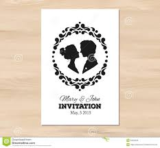 vector wedding invitation with profile silhouettes stock vector