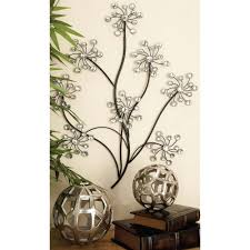 rustic gray iron branches and birds wall decor 58558 the home depot glitz inspired iron floral branches wall decor
