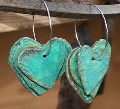 paper mache earrings paper mache hearts earrings recyclart