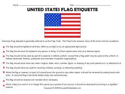 Pledge Of Allegiance Worksheet United States Flag Etiquette 4th 8th Grade Worksheet Lesson Planet