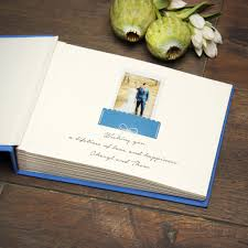 instant wedding guest book album royal blue with gold lettering