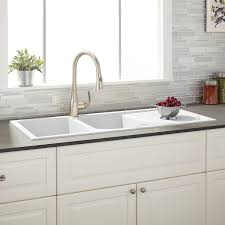 modern kitchen sink with drain boards and chrome faucet 46 tansi double bowl drop in sink with drain board white white