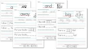 free kindergarten worksheets sight word sentences pre primer