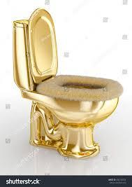golden toilet white fur sitting 3d stock illustration 566730724