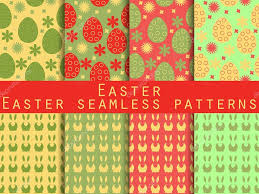 easter set of seamless patterns easter bunny and easter egg