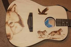 burn on wood wolf wood burned guitar by kekreations on deviantart
