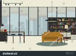 apartment inside flat style open space stock vector 552263680