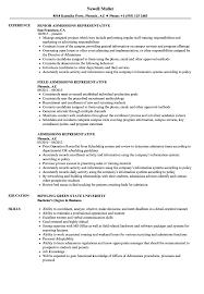 sle resume for college admissions representative training admissions representative resume sles velvet jobs