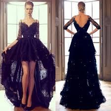 2015 black lace hi lo evening formal dresses off shoulder