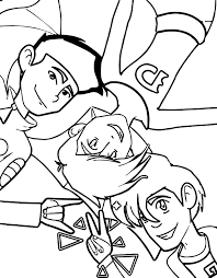 three friends american dragon jake long coloring page wecoloringpage
