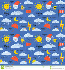 childish pattern with cute smiley weather icons stock vector