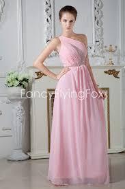 high school graduation dress pink one shoulder chiffon graduation dress for high school at