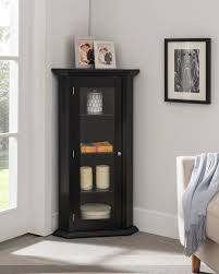how to arrange a corner china cabinet didan black wood contemporary corner curio display cabinet with 3 storage shelves glass doors walmart