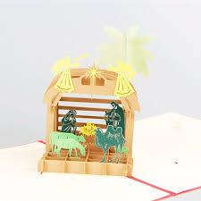 camel handmade kirigami origami 3d pop up nativity of jesus