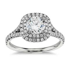 2 ct engagement rings duet halo engagement ring in 18k white gold 1 2 ct tw