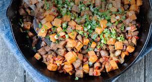 sausage and sweet potato hash tofurky